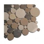 Splashback Tile Orbit Amber Circles Marble Tiles - 6 in. x 6 in. Tile Sample