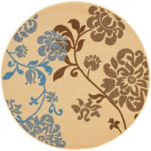 Safavieh Courtyard Natural Brown/Blue 5.3 ft. x 5.3 ft. Round Area Rug