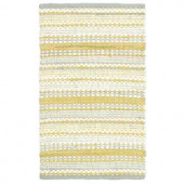 LR Resources Cotton Dhurry Yellow and Grey 5 ft. x 8 ft. Braided Indoor Area Rug
