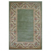 Kas Rugs Lush Floral Border Sage 3 ft. 3 in. x 5 ft. 3 in. Area Rug