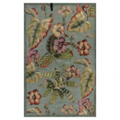 Kas Rugs All About Flowers Blue/Red 3 ft. 3 in. x 5 ft. 3 in. Area Rug