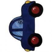 LA Rug Inc. Fun Time Shape Blue Car 31 in. x 47 in. Accent Rug