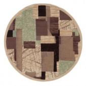 Nourison Modesto Collage Beige 5 ft. 3 in. Round Area Rug