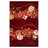 Kas Rugs Blossom Waves Ruby 3 ft. 3 in. x 5 ft. 3 in. Area Rug