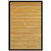 Anji Mountain Contemporary Natural Light Brown with Black Border 6 ft. x 9 ft. Bamboo Area Rug