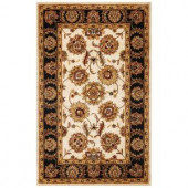 Kas Rugs Persian Agra Ivory/Black 5 ft. x 7 ft. 6 in. Area Rug