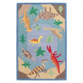 Kas Rugs Dinosaurs Blue 3 ft. 3 in. x 5 ft. 3 in. Area Rug