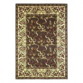 Kas Rugs Classic Ribbons Plum/Ivory 3 ft. 3 in. x 4 ft. 11 in. Area Rug