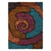Kas Rugs Shag Finesse 6 Red/Blue 5 ft. x 7 ft. Area Rug