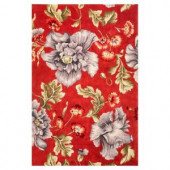 Kas Rugs Colossal Floral Coral/Blue 3 ft. 3 in. x 5 ft. 3 in. Area Rug