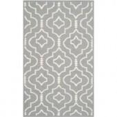 Safavieh Dhurries Grey/Ivory 4 ft. x 6 ft. Area Rug