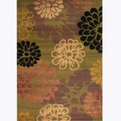 Kas Rugs Pleasant Floral Sage 3 ft. 3 in. x 4 ft. 11 in. Area Rug
