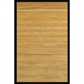 Anji Mountain Contemporary Natural Light Brown with Black Border 5 ft. x 8 ft. Bamboo Area Rug