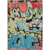 Nourison Overstock Gotta Get it Multicolor 4 ft. 6 in. x 6 ft. 6 in. Area Rug