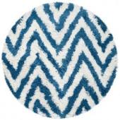 Safavieh Shag Ivory/Blue 4 ft. x 4 ft. Round Area Rug
