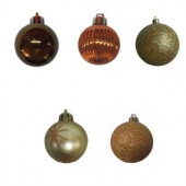 35 mm Brown and Gold Mini Ornament (Set of 20)