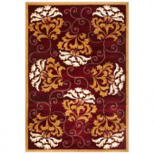 Kas Rugs Red Beige Damask Red 2 ft. 3 in. x 3 ft. 3 in. Area Rug