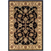 LR Resources Traditional Black and Cream Runner 1 ft. 10 in. x 7 ft. 1 in. Plush Indoor Area Rug