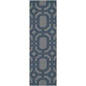 Safavieh Dhurries Grey/Dark Blue 2.5 ft. x 8 ft. Runner