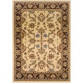 LR Resources Traditional Cream and Brown 1 ft. 10 in. x 3 ft. 1 in. Plush Indoor Area Rug