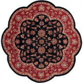 LR Resources Traditional Shape Black and Red 5 ft. Scallop Plush Indoor Area Rug