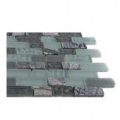 Splashback Tile Paris Rain Blend Brick Pattern 1/2 in. x 2 in. Marble And Glass Tile Bricks - 6 in. x 6 in. Tile Sample