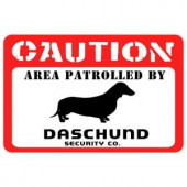 Bungalow Flooring Printed Caution: Dachshund 17.5 in. x 26.5 in. Pet Mat