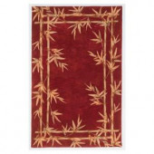 Kas Rugs Bamboo Screen Red 3 ft. 6 in. x 5 ft. 6 in. Area Rug