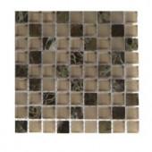 Splashback Tile Namib Desert Blend Squares 1/2 in. x 1/2 in. Marble And Glass Tile Squares - 6 in. x 6 in. Tile Sample