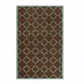Home Decorators Collection Dresden Chocolate and Blue 3 ft. 6 in. x 5 ft. 6 in. Area Rug