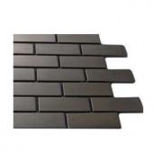 Splashback Tile Stainless Steel 3/4 in. x 2 in Metal Tile Brick Pattern - 6 in. x 6 in. Tile Sample