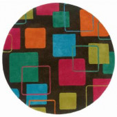 LR Resources Contemporary Charcoal 3 ft. Round Plush Indoor Area Rug