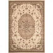 World Rug Gallery Manor House Cream Savonnerie 7 ft. 10 in. x 10 ft. 2 in. Area Rug