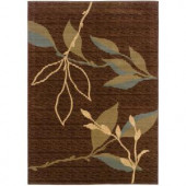 LR Resources Contemporary Light Brown and Light Moss Rectangle 3 ft. 11 in. x 5 ft. 3 in. Plush Indoor Area Rug