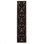 Home Decorators Collection Scrolls Black 2 ft. 3 in. x 10 ft. Runner