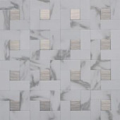 Instant Mosaic 12 in. x 12 in. Peel and Stick Faux White Marble and Brushed Stainless Metal Wall Tile