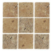 Jeffrey Court Travertino Noce 4 in. x 4 in. Tumbled Stone Tile (9 pieces/1 sq. ft./1 pack)