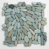 Solistone Kuala Batik Blue 12 in. x 12 in. Pebble Mosaic Floor & Wall Tile(10.sq.ft/Case)