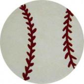 Sams International Baseball White and Red 3 ft. Round Area Rug