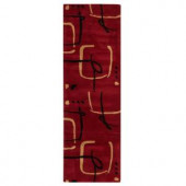 Home Decorators Collection Fragment Red 2 ft. 6 in. x 8 ft. Runner