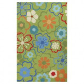 Kas Rugs Flowers at Play Green/Blue 3 ft. 3 in. x 5 ft. 3 in. Area Rug