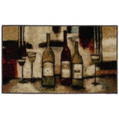 Wine and Glasses Brown 1 ft. 8 in. x 3 ft. 9 in. Kitchen Rug