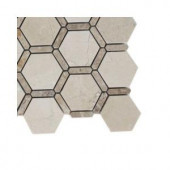 Splashback Tile Ambrosia Crema Marfil and Light Emperador Stone Mosaic Floor and Wall Tile - 6 in. x 6 in. Tile Sample