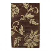 Kas Rugs Textured Bouquet Mocha 2 ft. 6 in. x 4 ft. 2 in. Area Rug