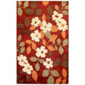 Rizzy Home Pandora Red Floral 8 ft. x 10 ft. Area Rug