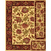 Marcella Jacobian Ivory 6 ft. 7 in. x 9 ft. 3-Piece Rug Set