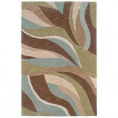 LR Resources Free Flowing Abstract Design, Blue and Brown Color 7 ft. 9 in. x 9 ft. 9 in. Indoor Area Rug