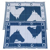 Fireside Patio Mats Blue Horseshoe Blue and White 6 ft. x 9 ft. Polypropylene Indoor/Outdoor Reversible Patio/RV Mat