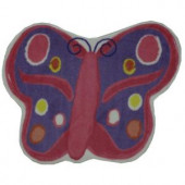 LA Rug Inc. Fun Time Shape Butterfly Multi Colored 35 in. x 39 in. Area Rug