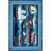 LA Rug Inc. Olive Kids Boats and Buoys Multi Colored 39 in. x 58 in. Area Rug